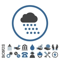 Rain Cloud Flat Rounded Icon With Bonus vector image vector image