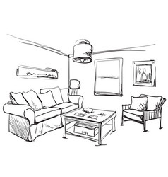 room interior sketch table sofa and other vector image