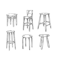 set of hand drawn stools vector image