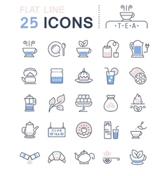 Tea line icons 3 vector