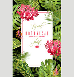 Tropical flower vertical banner vector
