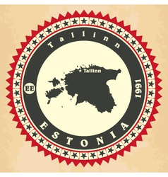 Vintage label-sticker cards of estonia vector