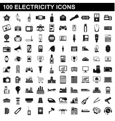 100 electricity icons set simple style vector image vector image