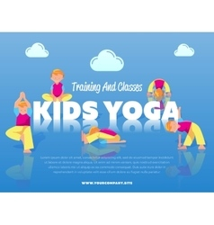 Training and classes kids yoga banner vector