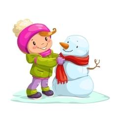 Little cute girl with snowman vector