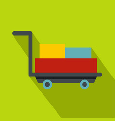 Luggage trolley with suitcases icon flat style vector