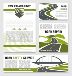 Road construction repair service templates vector