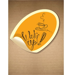 Label with coffee cup icon and hand drawn calligra vector image