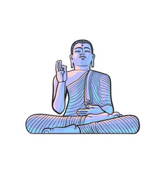 Sketch buddha sitting statue isolated vector
