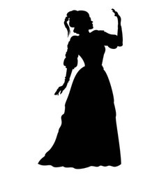 Silhouette woman in a ball gown vector