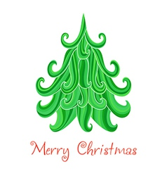 Christmas tree marry christmas card with vector