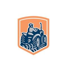 Farmer Driving Tractor Plowing Rear Shield Retro vector image