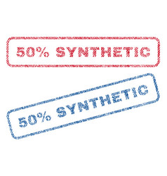 50 percent synthetic textile stamps vector