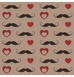 Pattern with mustaches and hearts vector