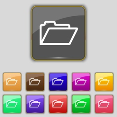 Folder icon sign set with eleven colored buttons vector
