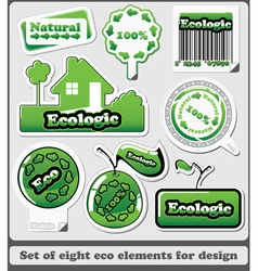 Eight eco design elements and icons vector