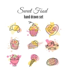 Cake  set of hand drawn sweets vector