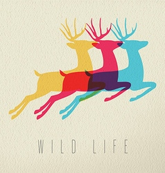Colorful wild life deer silhouette on paper vector