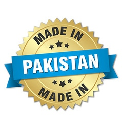 Made in pakistan gold badge with blue ribbon vector