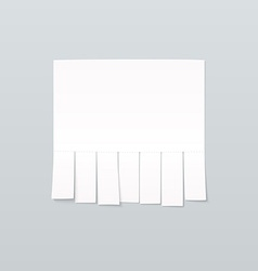 Blank sheet of paper advertising with cut slips vector image vector image