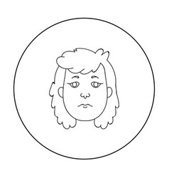Cavewoman face icon in outline style isolated on vector