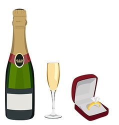 Champagne and jewelry box vector image vector image