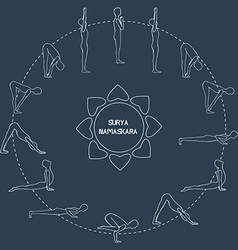 Cycle exercise in yoga sun salutation silhouette vector