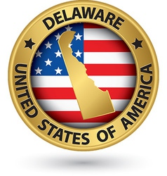 Delaware state gold label with state map vector image vector image