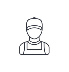 Delivery man in red uniform thin line icon linear vector