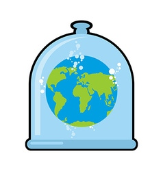 Earth in glass bell conservation and protection of vector