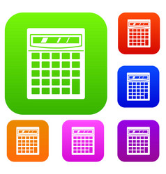 electronic calculator set color collection vector image vector image