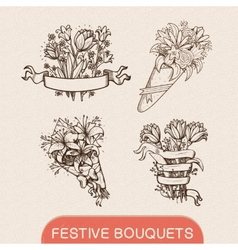 Festive holiday flower bouquets collection vector