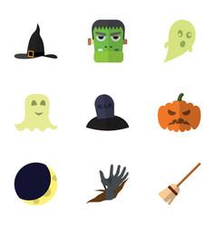 flat icon celebrate set of broom phantom tomb vector image vector image