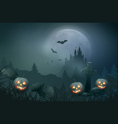 halloween night scene vector image vector image