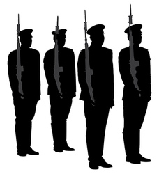 Honor guard silhouette vector