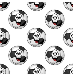 Laughing cartoon soccer ball seamless pattern vector image vector image
