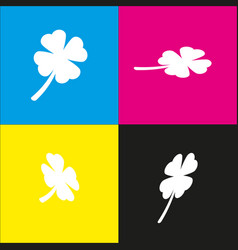 Leaf clover sign white icon with vector