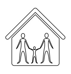 Monochrome contour of family in home vector