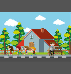 Neighborhood scene with kids running on pavement vector