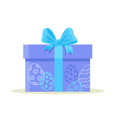 Package wrapped in colorful paper with blue eggs vector