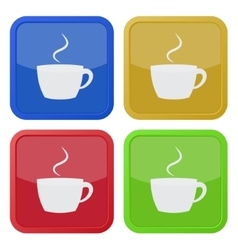 set of four square icons - cup with smoke vector image vector image