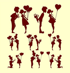 Silhouettes of people in love set vector