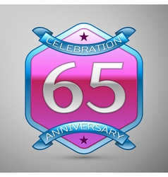 Sixty five years anniversary celebration silver vector