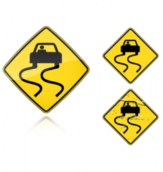 slippery when wet road sign vector image vector image