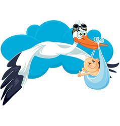 stork with baby invitation card cartoon vector image