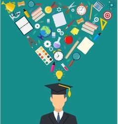 student with school icons and symbols flying vector image