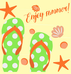 Summer background with slippers on sand and shells vector