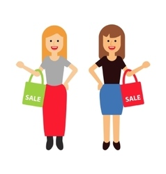 Two happy women with shopping bags vector