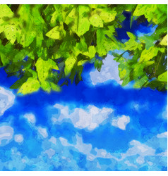 Watercolour leaves on blue sky vector