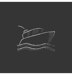 Yacht drawn in chalk icon vector